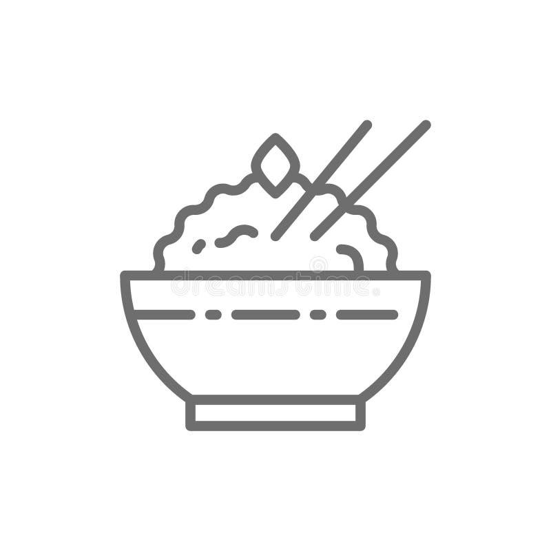 Bacia de linha cozinhada ícone do arroz ilustração stock