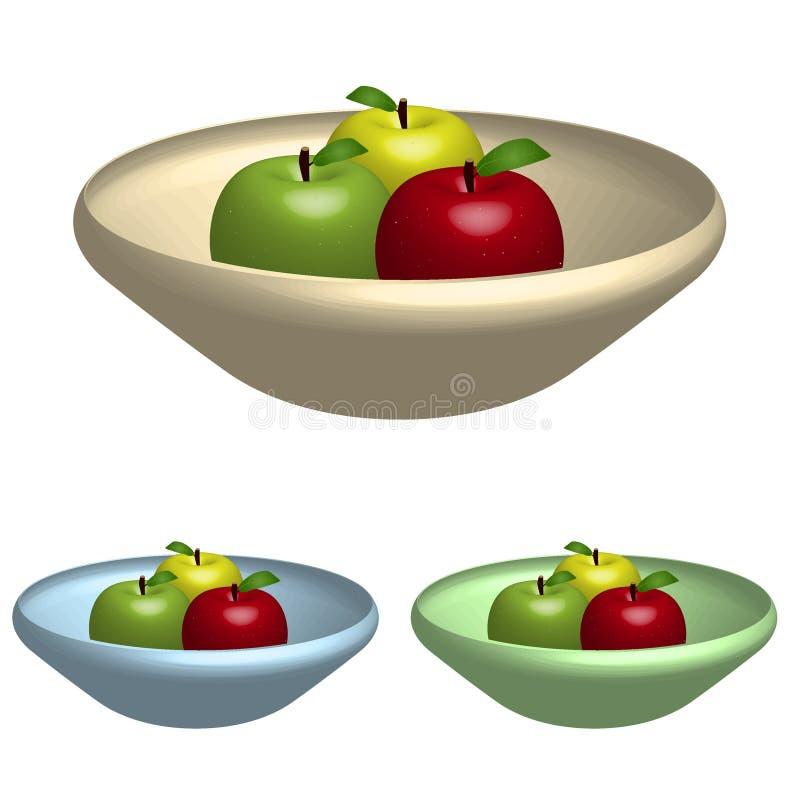 Bacia de maçãs ilustração royalty free