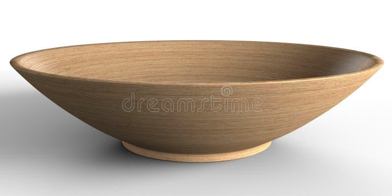 Bacia de madeira leve vazia no fundo branco lugar para o alimento fotografia de stock royalty free