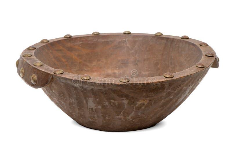Bacia de madeira marrom vazia foto de stock
