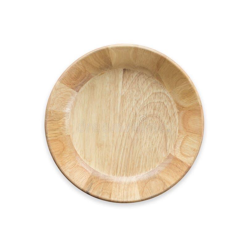 Bacia de madeira vazia brilhante da vista superior isolada no branco Salvar com foto de stock