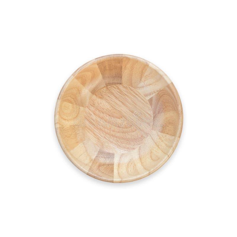 Bacia de madeira vazia brilhante da vista superior isolada no branco Salvar com fotos de stock