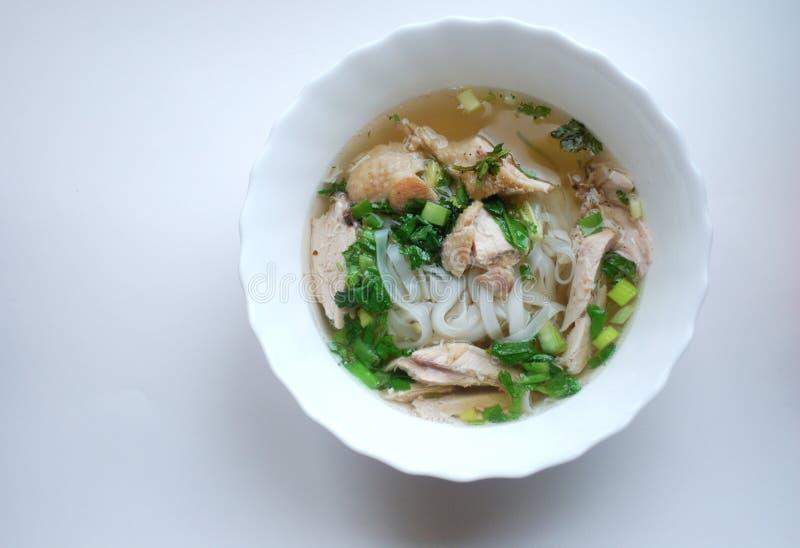 Bacia de pho da galinha Pho GA Sopa de macarronete do arroz fotos de stock