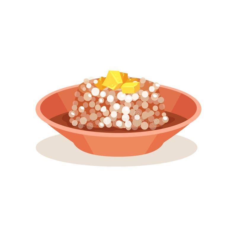 Bacia de pudim do sagu com manteiga na parte superior Alimento malaio Culinária asiática Ícone liso do vetor ilustração stock