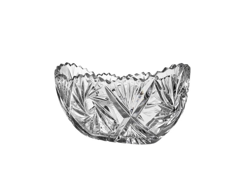 Bacia de salada de cristal do vaso, close up isolado no fundo branco fotografia de stock royalty free