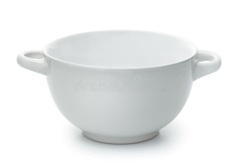 Bacia de sopa cerâmica vazia branca com punhos fotografia de stock royalty free