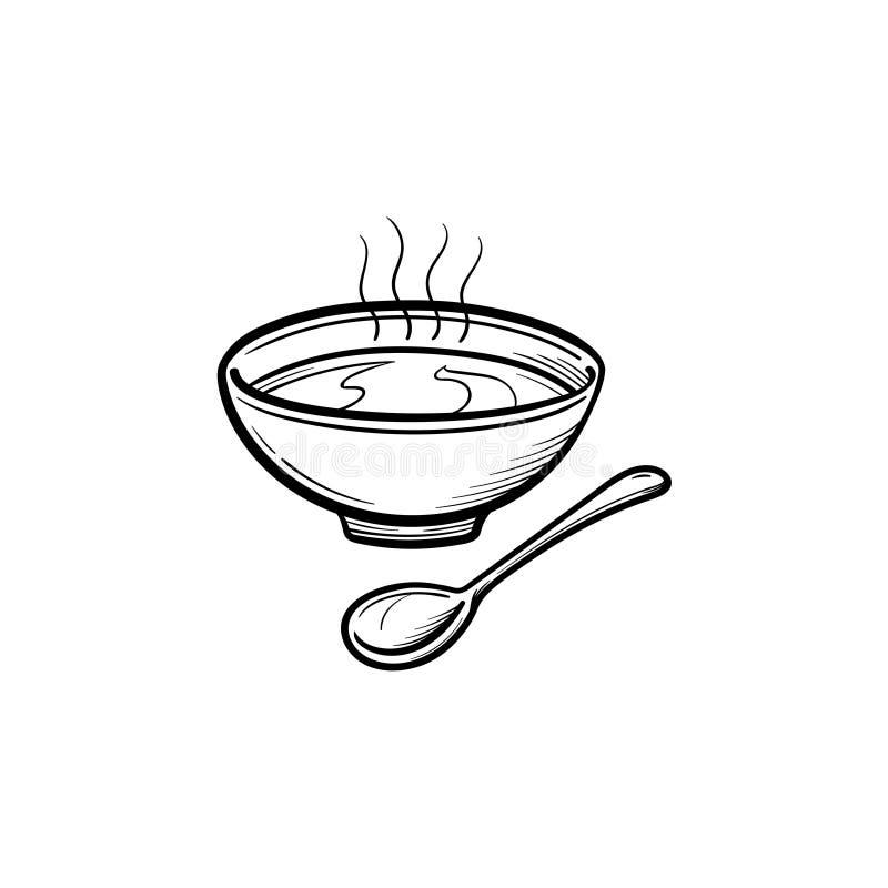 Bacia de sopa com ícone tirado mão do esboço da colher ilustração do vetor