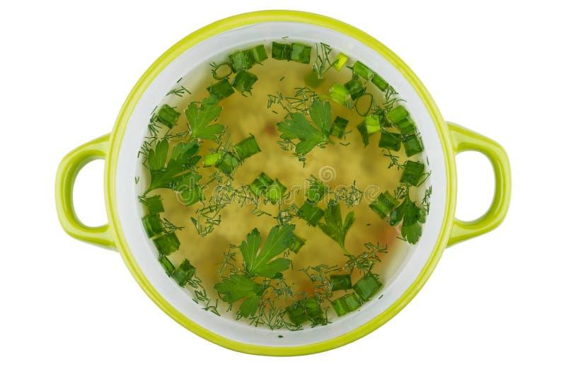 Bacia de sopa com a massa isolada no fundo branco imagem de stock royalty free