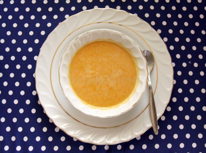 Bacia de sopa da polpa do Butternut imagem de stock