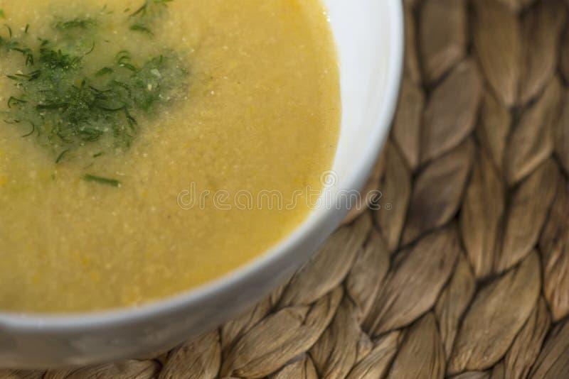 Bacia de sopa de lentilha caseiro em uma bacia de sopa branca com anetos verdes frescos, fim acima fotografia de stock