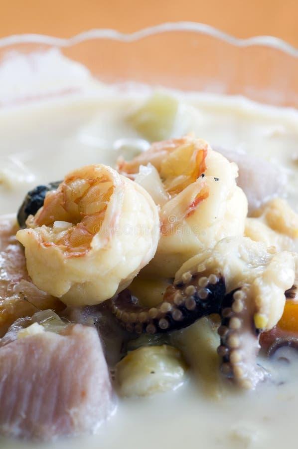 Bacia de sopa misturada Nicarágua do marisco fotografia de stock royalty free