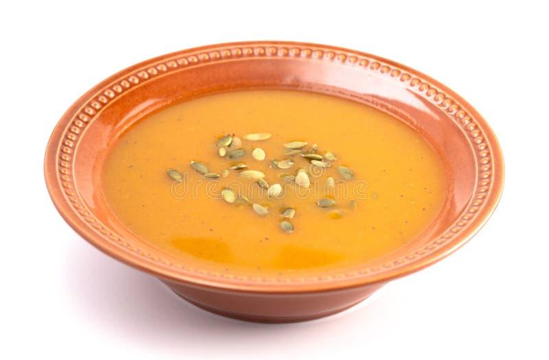 Bacia de sopa morna da polpa de Butternut imagem de stock