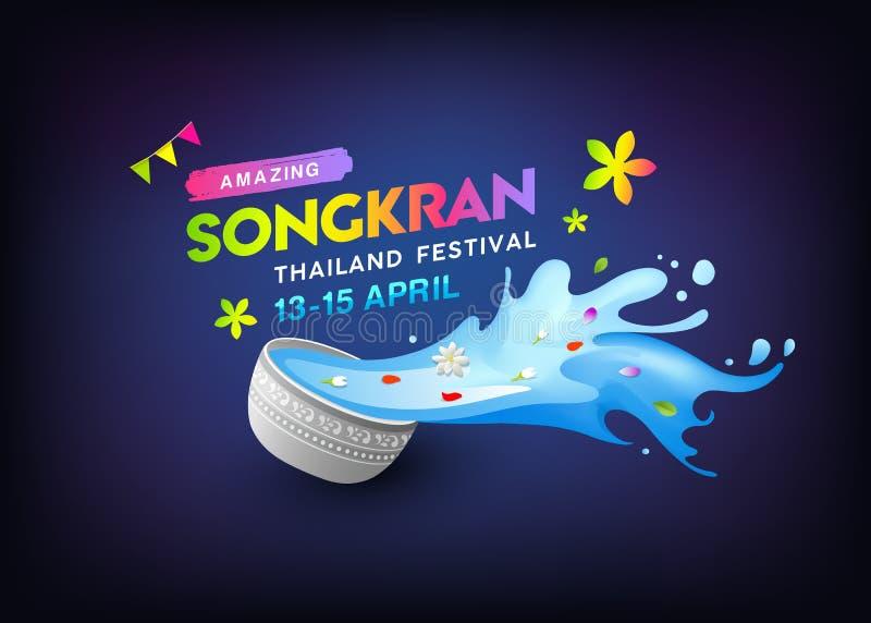 Bacia de surpresa de Songkran Tailândia e água colorida que espirram o projeto ilustração stock