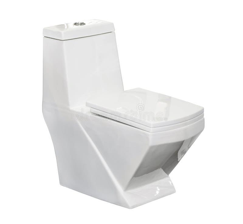 Bacia de toalete branca isolada imagens de stock royalty free