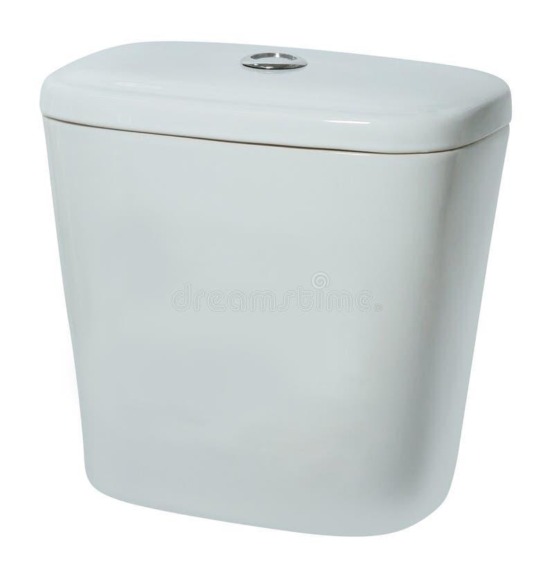 Bacia de toalete do tanque nivelado da água Isolado no branco foto de stock royalty free