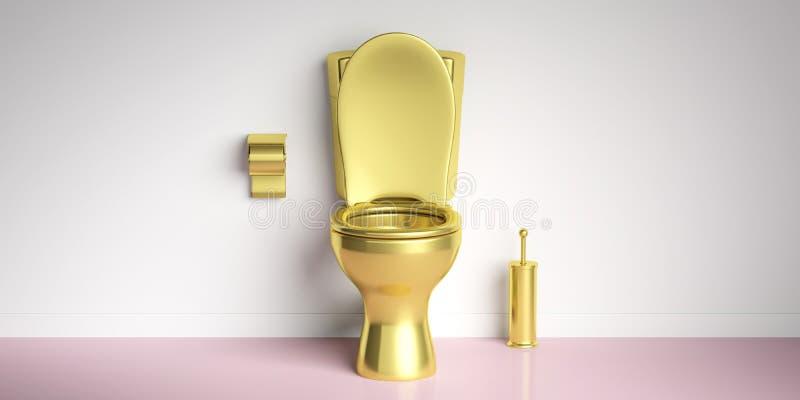 Bacia de toalete dourada no assoalho cor-de-rosa, fundo branco da parede, espaço da cópia ilustração 3D ilustração do vetor
