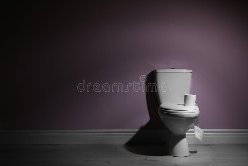 Bacia de toalete e rolo de papel higiênico cerâmicos novos perto da parede da cor imagem de stock