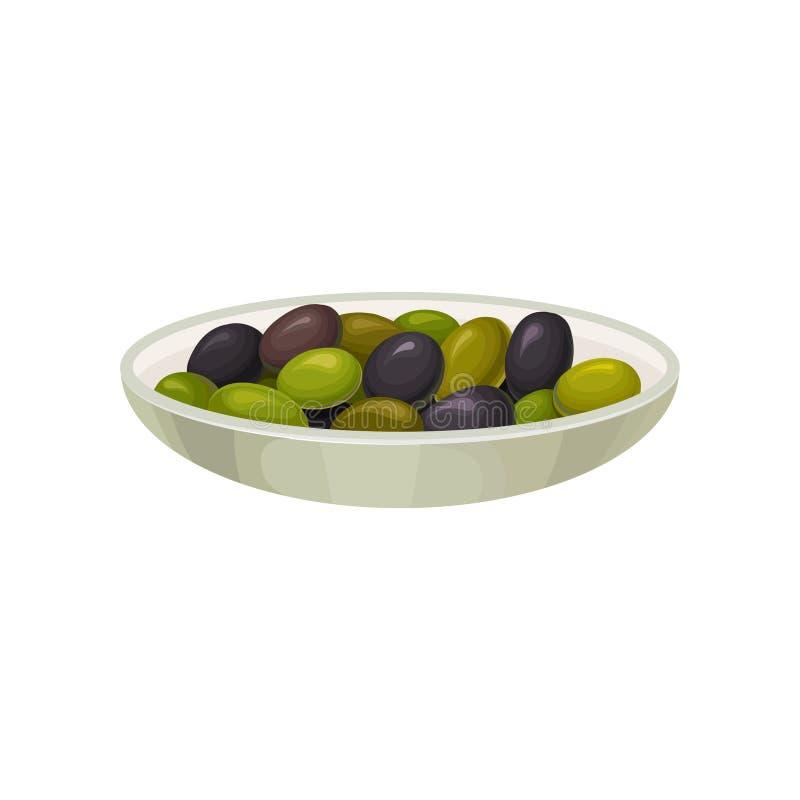 A bacia de vidro de azeitonas pretas e verdes conservadas vector a ilustração ilustração stock