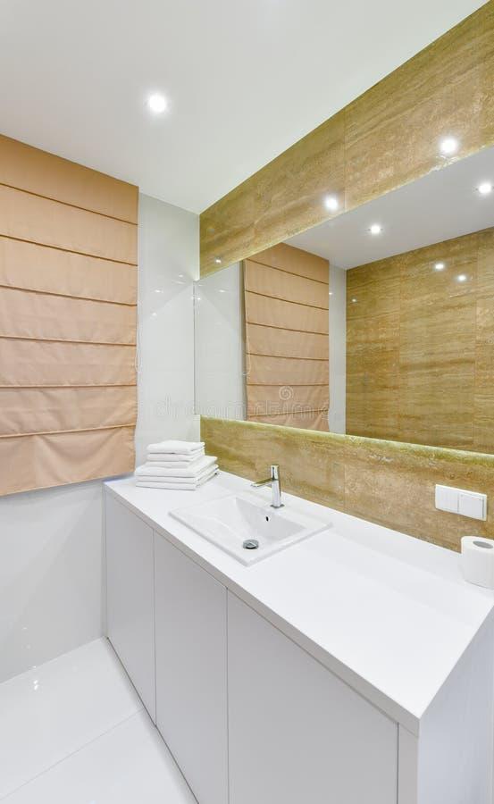 Bacia do banheiro, interior moderno do apartamento fotografia de stock