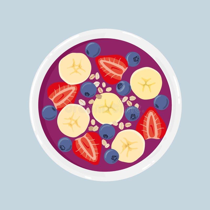 Bacia do batido de Acai com a banana, os mirtilos, as morangos e a aveia, isolados Vista superior Ilustração desenhada mão do vet ilustração stock