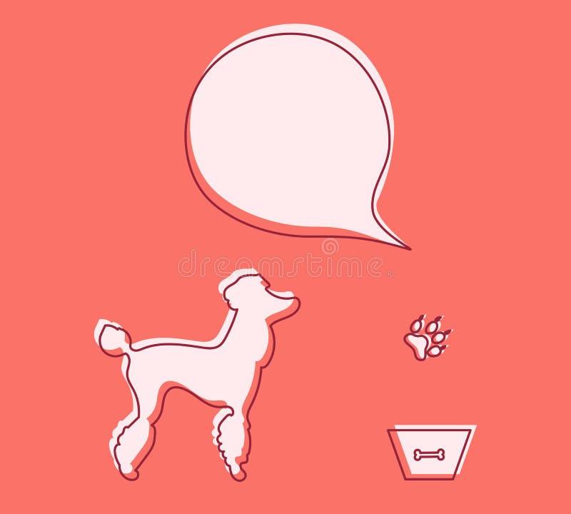 Bacia do cão, cuidados médicos animais da trilha, veterinário, nutrição ilustração stock