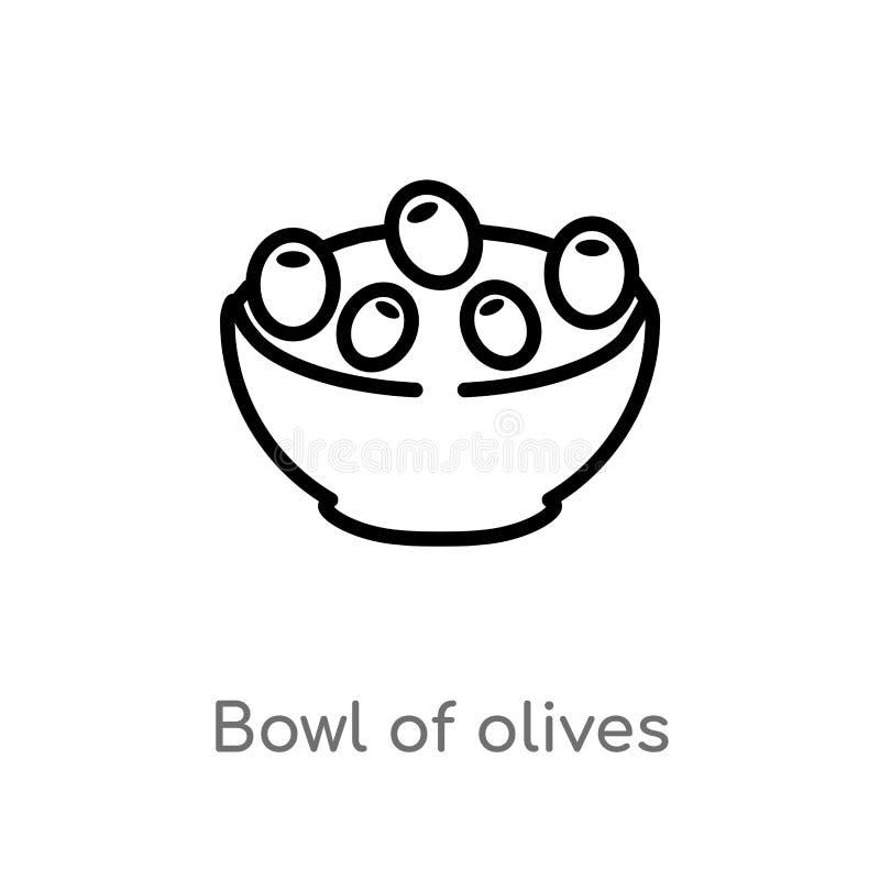 bacia do esboço de ícone do vetor das azeitonas linha simples preta isolada ilustração do elemento do conceito dos restaurantes e ilustração stock