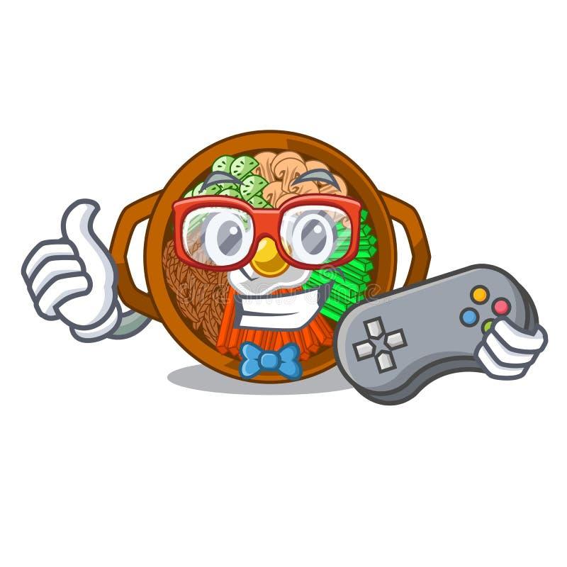 Bacia do Gamer de bibimbap na forma dos desenhos animados ilustração stock