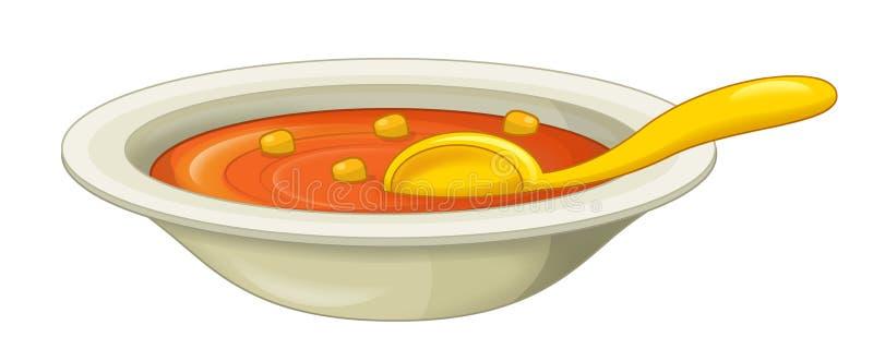 Bacia dos desenhos animados de sopa - ilustração stock