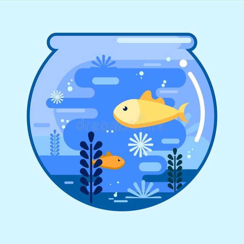 Bacia dos peixes com os peixes do ouro no estilo liso Aqu?rio de vidro redondo Projeto da ilustra??o do vetor ilustração do vetor