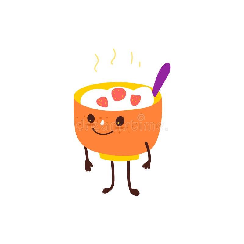Bacia engraçada de farinha de aveia quente, caráter do papa de aveia do arroz ilustração royalty free