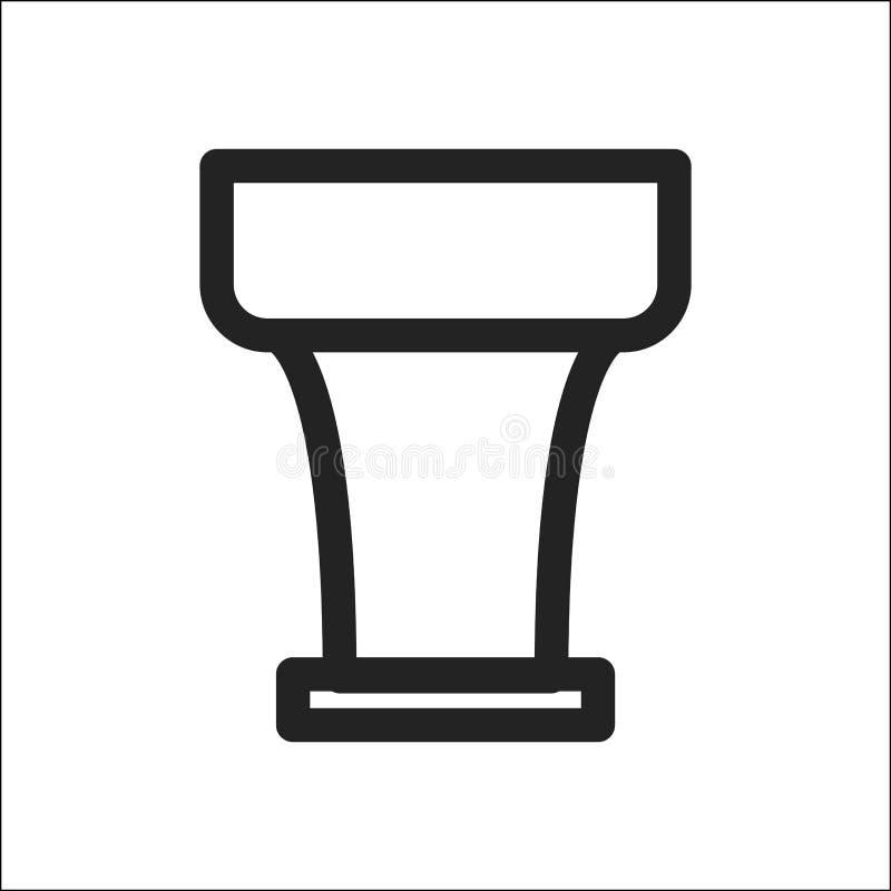 Bacia para o ícone do cachimbo de água ilustração stock