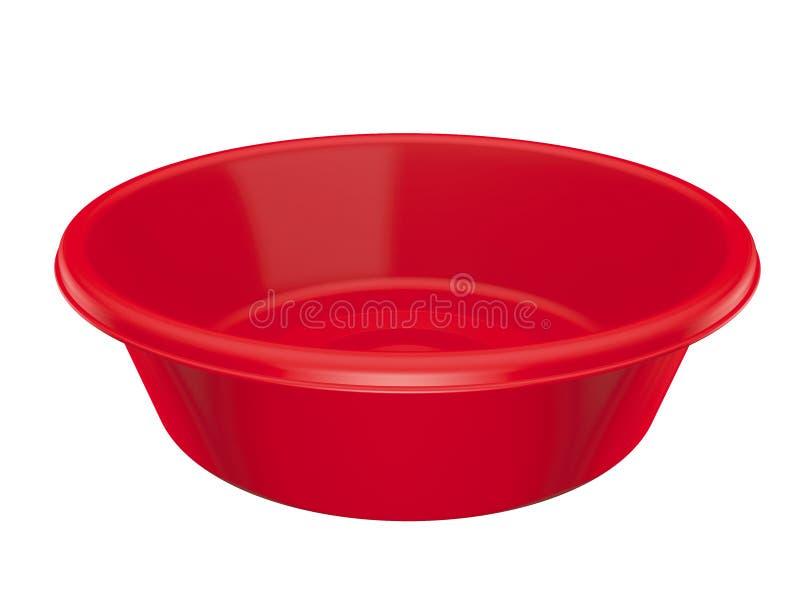 Bacia plástica vermelha isolada ilustração stock