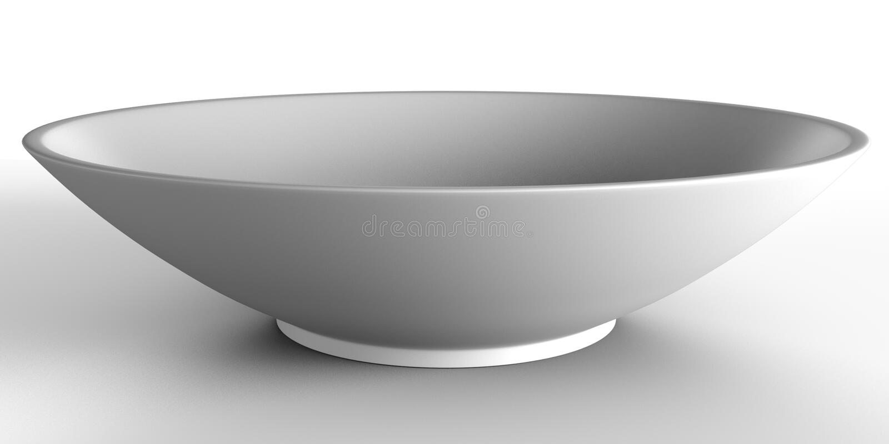 Bacia preta vazia no fundo branco lugar para o alimento fotografia de stock