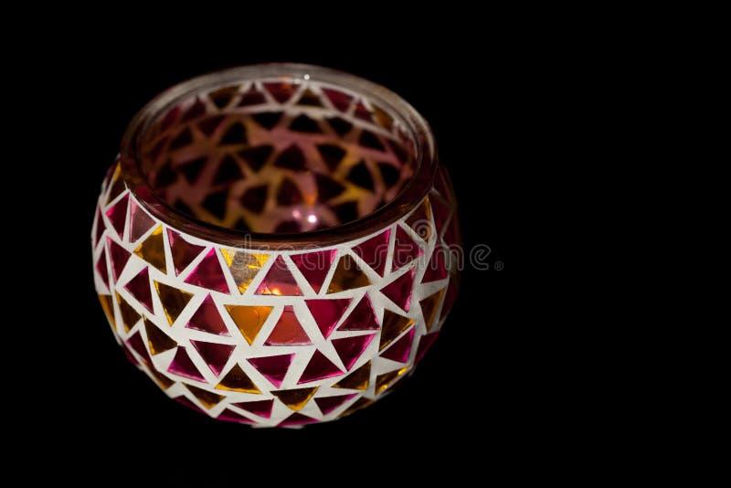 Bacia simples do castiçal do tealight da arte tradicional e do ofício fotografia de stock royalty free