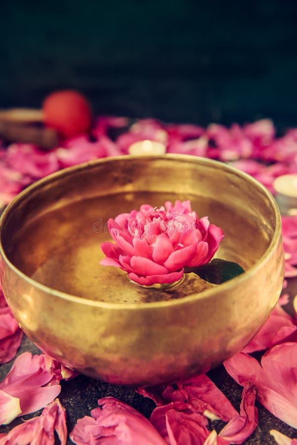 Bacia tibetana do canto com flutuação na flor cor-de-rosa da peônia da água Velas e pétalas de queimadura no fundo de pedra preto foto de stock
