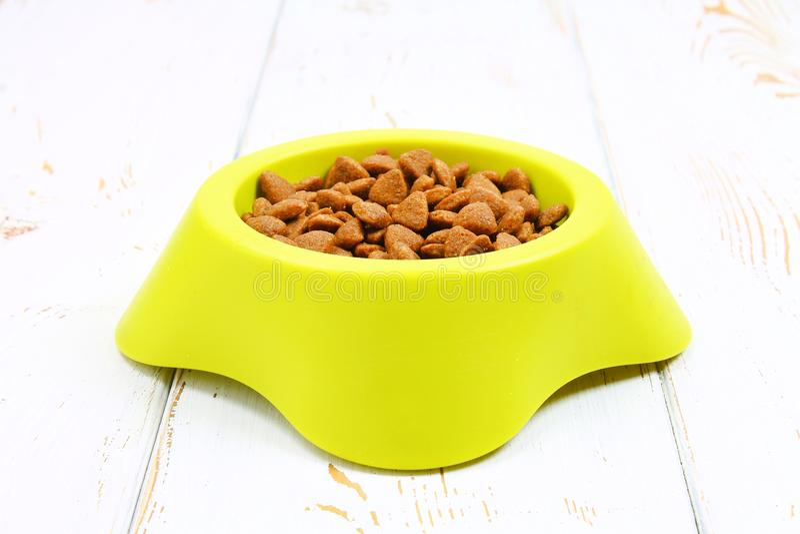 Bacia verde-amarela com comida de gato seca em um assoalho de madeira branco fotografia de stock