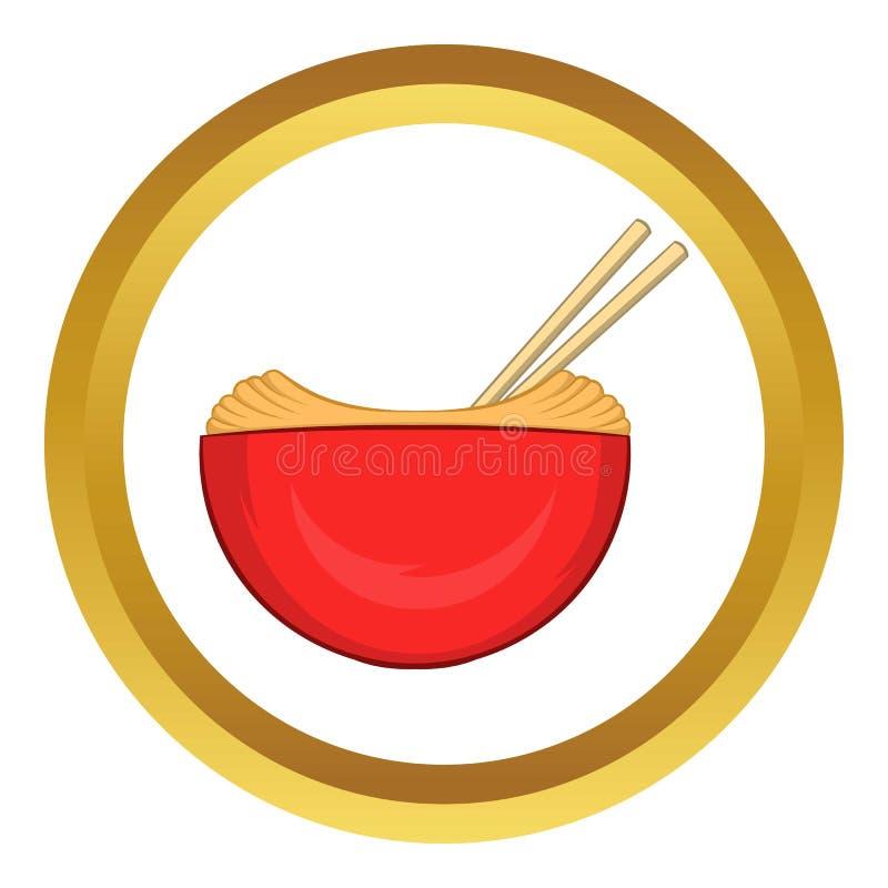 A bacia vermelha de arroz com pares vector o ícone ilustração stock