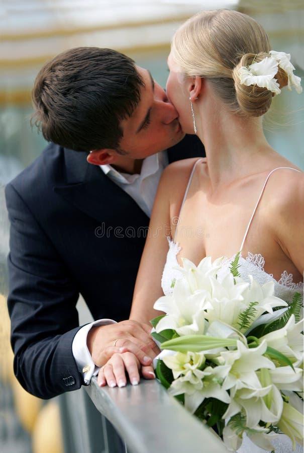 Baciare delle coppie del Newlywed fotografia stock libera da diritti