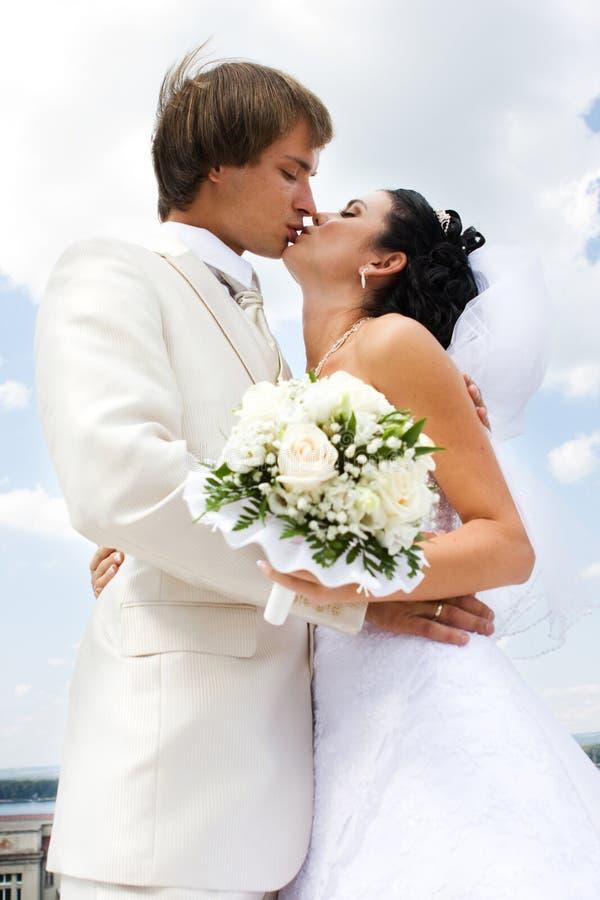 baciare dello sposo della sposa immagini stock libere da diritti
