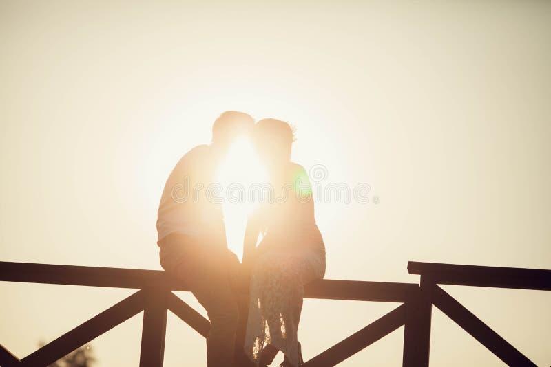 Baciare le coppie alla luce solare fotografia stock libera da diritti