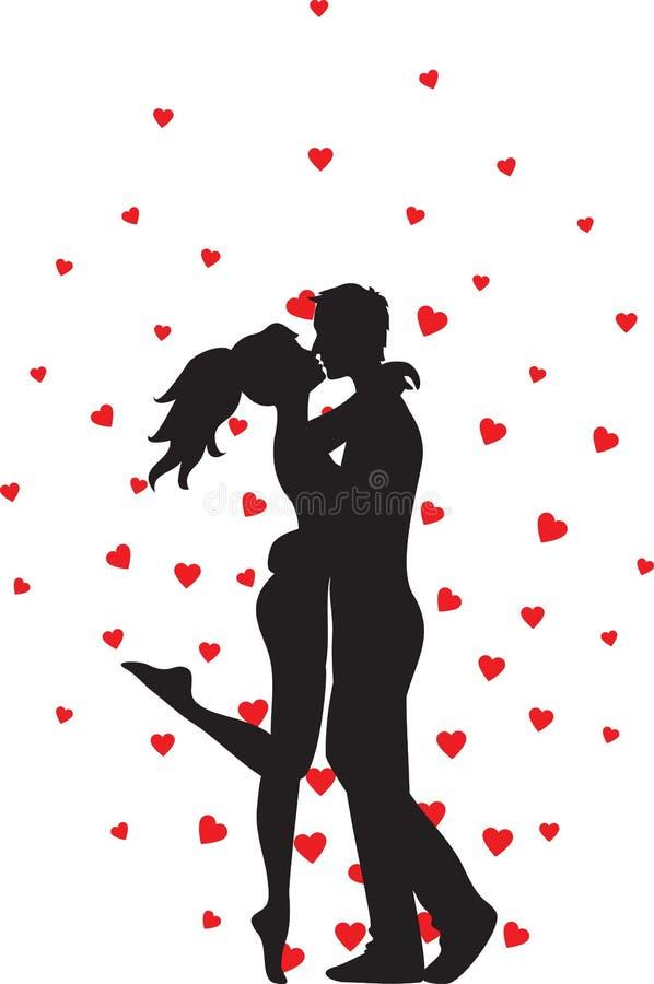 Baciare le coppie ed i cuori illustrazione di stock
