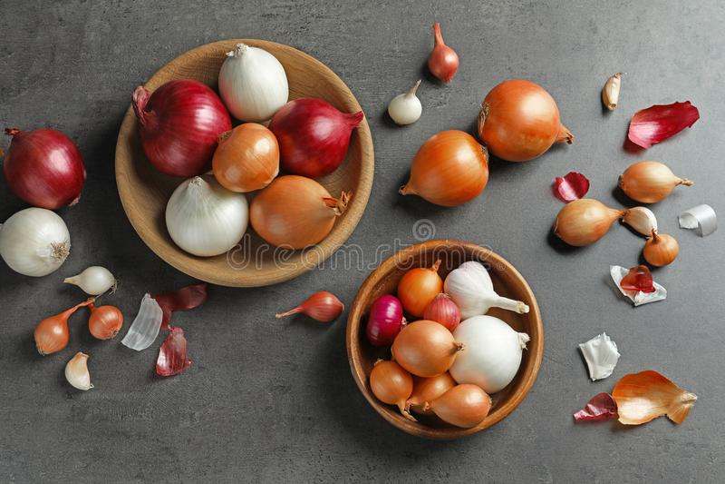 Bacias com cebolas diferentes fotografia de stock
