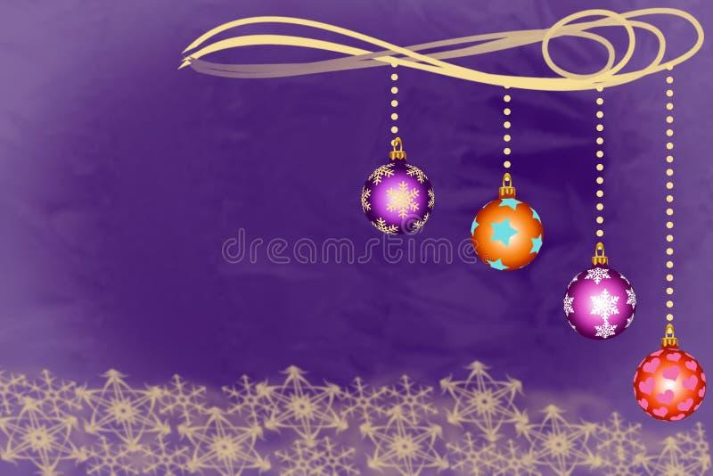 Bacias do Natal que penduram acima dos flocos de neve dourados sobre ilustração do vetor