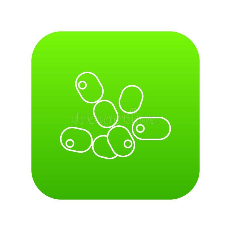 Bacilos vector del coco del verde del icono stock de ilustración