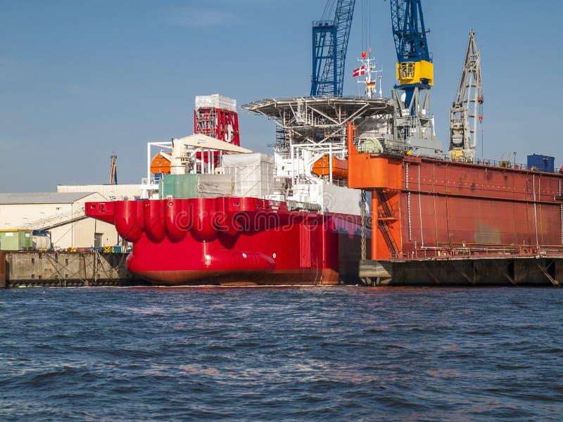 Bacino di carenaggio di B.V. Shipyard a Amburgo immagini stock libere da diritti