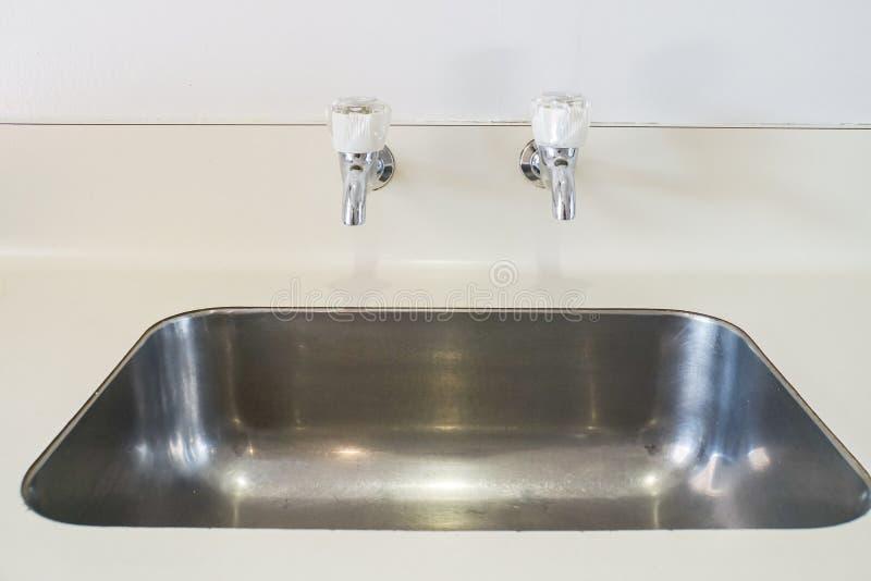 Bacino inossidabile di lavaggio del piatto in cucina con i rubinetti di acqua fredda e caldi immagine stock