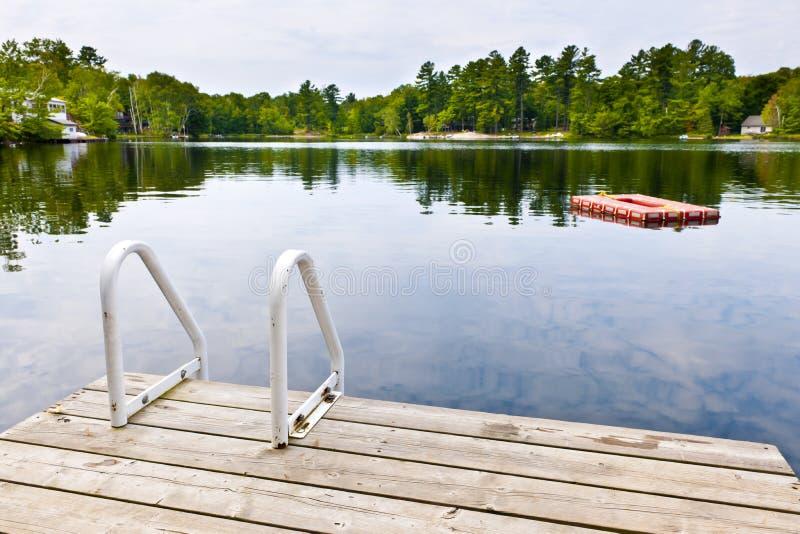 Bacino sul lago calmo nel paese del cottage fotografie stock