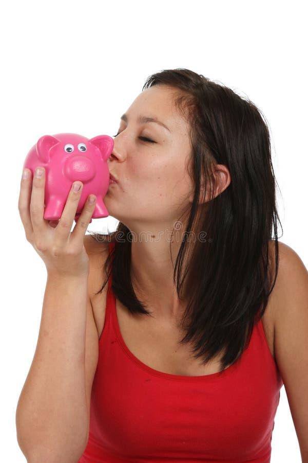 Bacio della Banca Piggy immagine stock