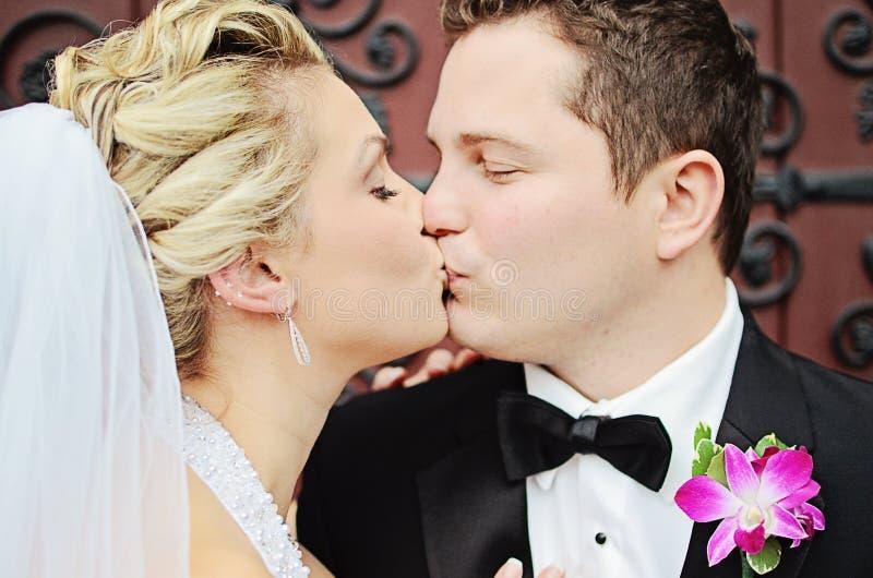 Bacio delle coppie di nozze fotografie stock libere da diritti