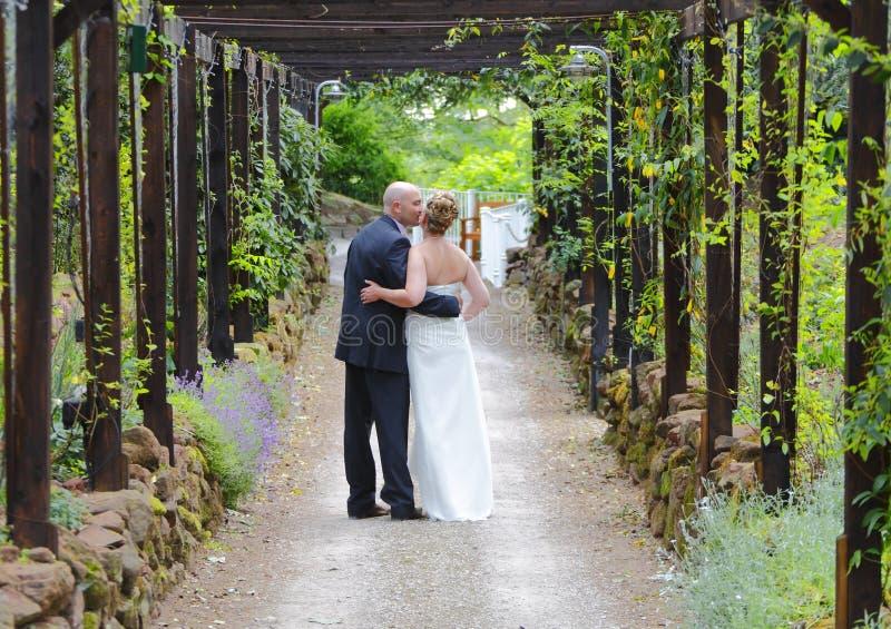 Bacio dello sposo e della sposa immagine stock
